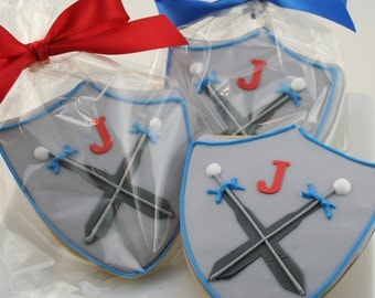 Knight Shield Party Cookies - 12 Decorated Sugar Cookie Favors