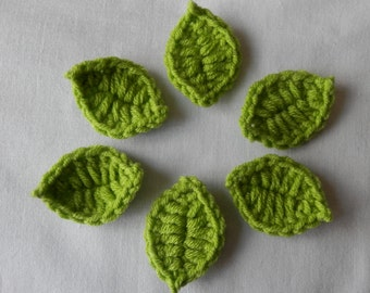 6 Crochet  Leaves    Embellishments,Flowers,Appliques,Cards,Scrapbooking,Crafts, Supplies