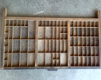 Antique Letterpress Printers wooden TYPE TRAY w/ Hamilton Handle and metal label holder