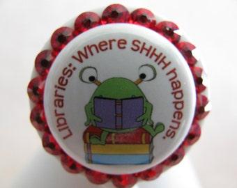 Librarian Retractable ID Badge Reel, Retractable ID Badge Holders, Badge Reels, ID Card Holder,Cute Badge Reels, Teacher Badge Reel, Library