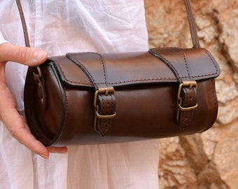 Handmade full grain round leather barrel bag from Greece
