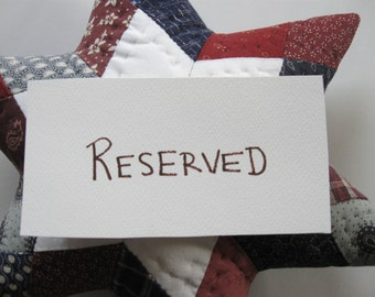 RESERVED LISTING - This listing is reserved - Star Quilted Pillow