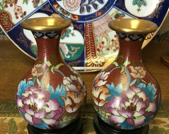 Pr Vintage Chinese Cloisonne Vases on Stands Floral