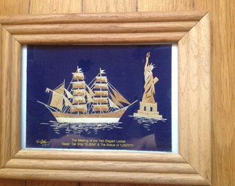 Meeting of two elegant ladies. Tall ship ELISSA & Statue of Liberty. Handmade leaf art collectible. Unique collectible by Texas artist