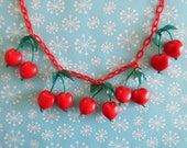 NEW PRICE! 1940s Style Cherry Necklace - Hearts