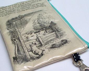 Book purse UPCYCLED from vintage Charlotte'e Web book with Charlotte and Wilbur, with swivel lobster clasp