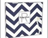 BABY BOOK | Navy Chevron Stripe Album | Ruby Love Baby Memory Book