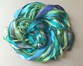 Silk Ribbon Remnants - Green, Blue and Aqua