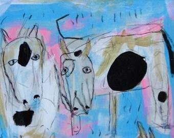 Cow Mixed Media Original Folk Art Outsider Painting