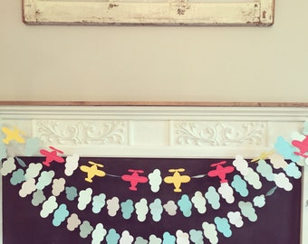Sewn Airplane/Clouds Paper Garland Set