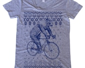 Ugly Hanukkah Sweater Sloth on a Bike Shirt - Womens Grey T-Shirt - Exclusive NEW 2015 Design