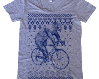 Ugly Hanukkah Sweater Sloth on a Bike tee - Womens T Shirt, Ladies Tee, Tri Blend Tee, Handmade graphic tee, sizes s-xL