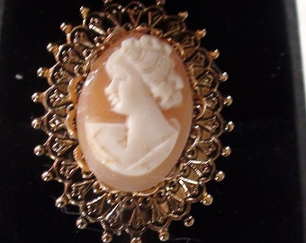 """Large 1"""" Diam  Cameo Vintage Ring  1960s Victorian Look and Open Size 6 up to 9 Genuine Shell Cameo and in Gold Finish"""