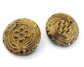 Gold Glass Vintage Buttons - 2 Large Antique 1940s Black with Luster