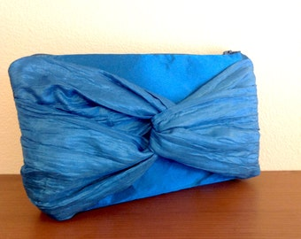 Bridesmaids clutch Bag with bow in teal blue satin with taffeta bow Gift for Bridesmaids- READY TO SHIP