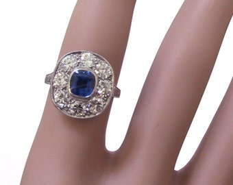 Art Deco Platinum Sapphire Diamond Engagement Ring Art Deco Jewelry Antique Engagement Ring