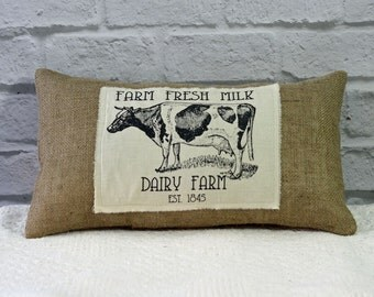 Burlap Pillow Dairy Fresh Cow Graphic Decorator Lumbar Pillow Rustic Decor Envelope Style with or without insert