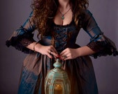 lovely green and brown silk Marie Antoinette Vamp Victorian witch inspired rococo costume dress