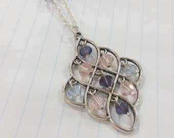 Purple and Pink Crystal Chandelier Pendant Necklace