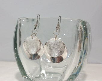 Layered Silver Disc Earrings