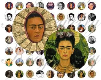 Frida Kalho images for 16mm bezel, pendant, buttons, scrapbook and more Vintage Digital Collage Sheet No.1629