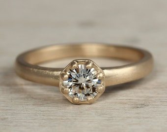 READY to SHIP 5mm Octagon Engagement Ring - 14k Yellow Gold Gold and Moissanite Engagement Ring - US Size 6 - Vintage Ring