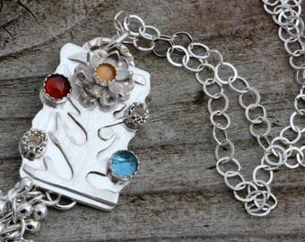 Genuine blue topaz moonstone red garnet sterling silver flower necklace pendant unique unusual natural semiprecious stone artisan jewelry