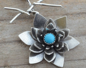Sterling silver sacred lotus flower turquoise necklace pendant lily waterlily necklace Buddism yoga jewelry spiritual heart chakra artisan