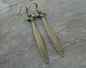 Antique Bronze Thin Drop Earrings