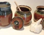 Ceramic Honey Pot Sugar Bowl ,Creamer and garlic Keeper  3 Piece set - brick red and  dark blue overlaps   IN STOCK