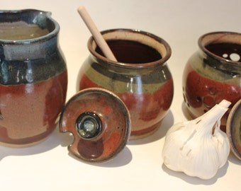 Ceramic Honey Pot Sugar Bowl ,Creamer and garlic Keeper  3 Piece set - brick red and  dark blue overlaps   IN STOCK