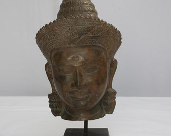 Buddha Head in Cast Bronze in Typical Lopburi Style, an Art Form since 11th to 13th Century