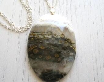 SALE - White, Green Khaki and Mustard Ocean Jasper Pendant Necklace