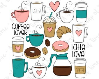 Coffee Lover Hand Drawn Digital Clipart - Set of 20 - Coffee, Latte, Donuts, Coffee Beans - Instant Download - Item #9160