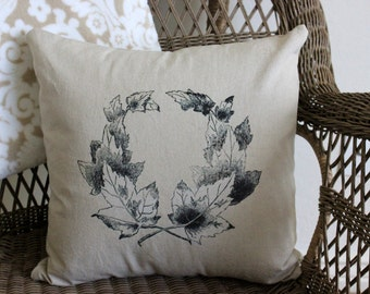 Fall Pillow Cover - Wreath of Leaves - Linen Pillow Cover