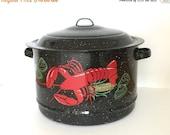 SALE 20% OFF NON-Linens Vintage Cooking Stock Pot Enamel Speckled Graniteware Red Lobster Corn