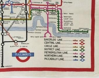 Linen Tea Towel Railways Travel Souvenir Map Colorful Wall Hanging