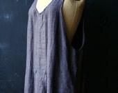 Vintage Jumper Dress Linen Bohemian Fashion Black and Tan Stripe Vertical From Nowvintage on Etsy