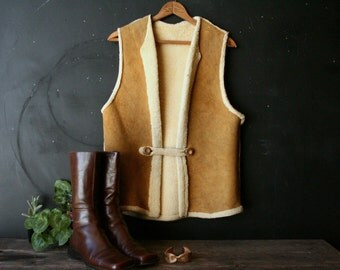 Sheepskin Vest Tan leather,Bohemian and Southwest Fashion Single Button Rolled Edge Med Vintage From Nowvintage on Etsy