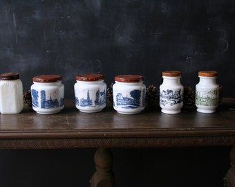 Milk White and Blue Jars Two Sets Storage And Organize Spice Sugar Tea  or Herbs From Nowvintage on Etsy
