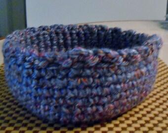 Crochet Blue Multi-Colored Basket