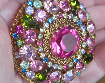 Awesome Vintage Multi Colored Rhinestone Brooch Marked Austria Gold Tone Pinks Greens Blues