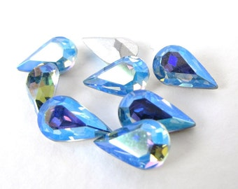 Vintage Rhinestone Swarovski Crystal Light Sapphire AB Pear Blue Aurora Borealis Teardrop Jewel 10x6mm swa0660 (8)