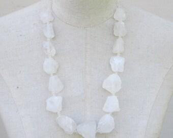 Crystal Necklace, Transparent Clear Quartz Chunky Beads, Festival Beaded
