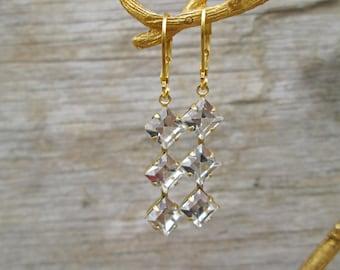Vintage Clear Crystal Triple Stone Gold Earrings, Downtown Abbey Rhinestone Ear Drops, Bridal