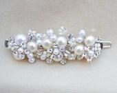 Bridal Austrian Crystal And Fresh Water Pearl  Small Hair Clip / Bridal Hair Clip / Flower Girl Barrette / Vintage Inspired Bridal Clip