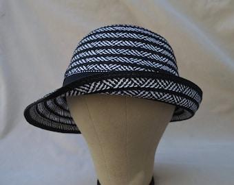 Cloche Hat / Downton Abbey Cloche Hat / Black And White Cloche Hat / Vintage Inspired Cloche Hat