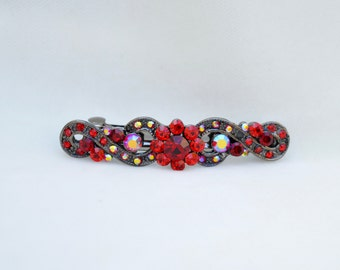 Red Rhinestone Hair Clip /  Bridal Hair Clip / Prom Barrette / Vintage Inspired Downton Abbey Hair Clip / Valentine's Day Hair Clip