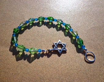 Jewish Meditation Beads, Blue-Green Glass Beads with Silver Tone Metal Star of David, Meditation Focus Aid, Jewish Beads, Spiritual Beads