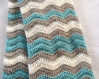 Ready to Ship Beautiful and Luxuriously Handcrafted CROCHET Blanket Throw ARUBA SEA, Grey, white